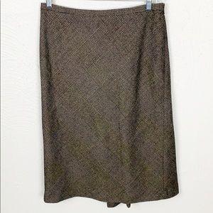 Ann Taylor Brown Tweed Midi Skirt with Rear Pleat